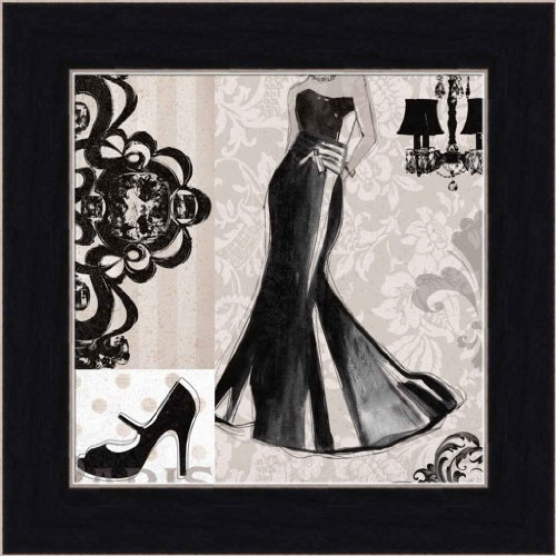 Little Black Dress By Carol Robinson Fashion Gown 7.5X7.5 Framed Art Print Picture Wall Decor front-253228