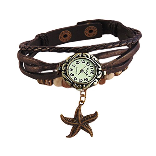 Habors Multiband Watch Black Bracelet With Star Charms for Women