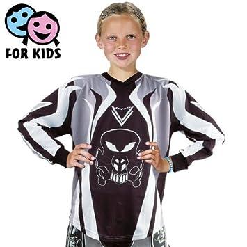 Roleff Racewear 8551 T-shirt Motocross pour Enfants, Noir/Gris, XS/122