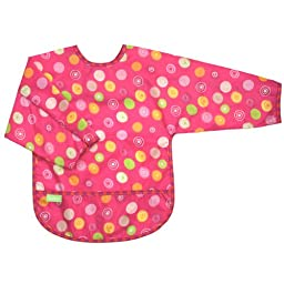 Kushies Art Smock with sleeves, Fuchsia Crazy Circles, 2-4 Years