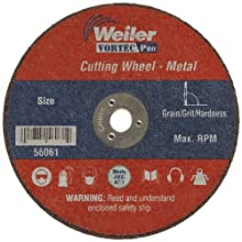 "Weiler Tiger 1/4"" Arbor, 0.035"" Thickness, 3""Diameter, A60T Grit, Small Type 1 Reinforced Cut-Off Wheel"
