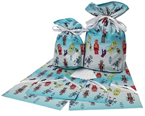 GiftMate Robot Drawstring Gift Bags 6 Pc (3-large + 3-medium) (Robot Wrapping Paper compare prices)