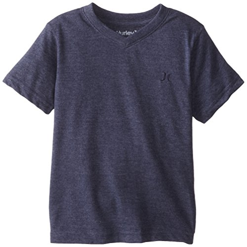 Hurley Little Boys' Icon Premium V Neck Classic Surf Style Tee, Midnight Navy Heather, 6