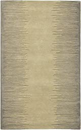eCarpetGallery Handmade Aurora 5-Feet 0-Inch by 8-Feet 0-Inch Wool Rug, Gray, Khaki