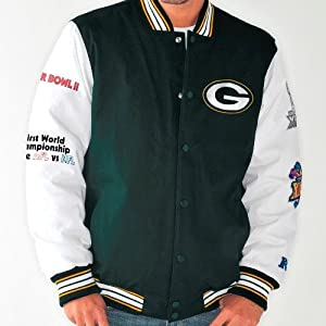 Green Bay Packers NFL Box and 1 Super Bowl Commemorative Canvas Varsity Jacket by G-III Sports