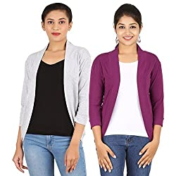 Zalula Women's Spandex Grey and Purple Shrug