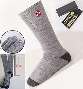 paire de chaussettes chauffantes thermiques lectriques piles grises 38 43. Black Bedroom Furniture Sets. Home Design Ideas