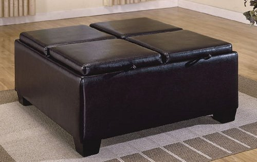 Vega Leather Match Ottoman w/ 4 Storages By Homelegance Furniture