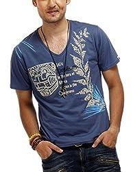 Chlorophile Men's V Neck Cotton T-Shirt (Afr_Blue_Medium)