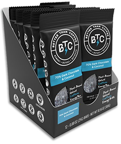 Better Than Coffee Energy Bars, Gluten Free (70% Dark Chocolate Coconut, 12 count) (Now Energy Bars compare prices)