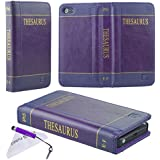 ECO-FUSED Handmade Faux Leather Classic Book Series Case for iPhone 5 also includes 1 Short Stylus and 1 Eco-Fused Microfiber Cleaning Cloth (Thesaurus/purple)