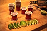 1.75 Ounce Mini Red Party Cup, Shot Glasses, Disposable Red Plastic Miniature Drinking Cup, Tasting Glass, (Pack of 60)