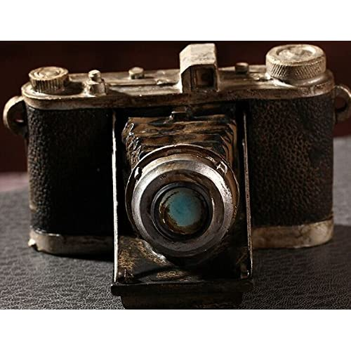 Zakka Grocery Home Furnishing Decor Craft Ornaments Worn Do Dirty Craft Tin Camera/radio/piano Decoration (Camera)