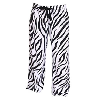 Zebra Black and White Print Flannel Tie Cord pants, Unisex Sizes, Small