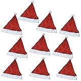 【KUENTAI】クリスマス サンタ 帽子 サンタクロース Xmas プレゼント パーティー 複数セット 柄 ツリー ベル (星と月(10枚))