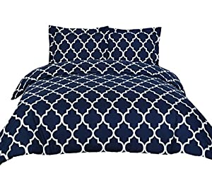3 Piece Duvet Cover Set (Queen, Navy Blue) Duvet Cover with 2 Pillow Shams - Hotel Quality Brushed Microfiber - Luxurious, Comfortable, Breathable, Soft and Extremely Durable - by Utopia Bedding