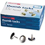 Officemate Steel Thumb Tacks, 3/8 Inch Head, Silver, Box of 100 (92912)