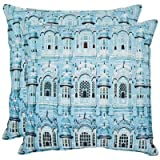 Safavieh Pillows Collection Verone Decorative Pillow, 18-Inch, Turquoise, Set of 2