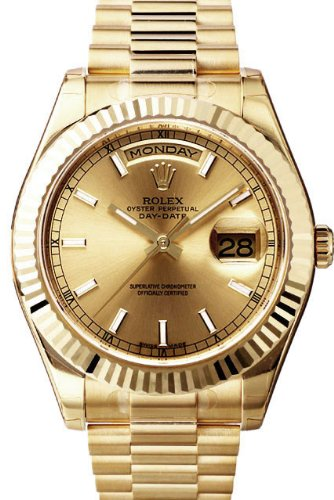 Rolex Day-Date II President Yellow Gold Watch, Champagne Index Dial