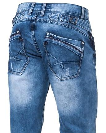 BLZ jeans - Jeans Homme Délavé Avec Broderies - Couleur : Bleu Taille : FR 48 US 38