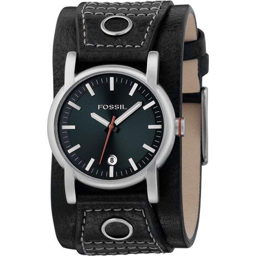 Fossil JR9767 - Reloj para hombres, correa de cuero color negro