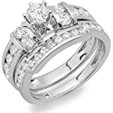 2.00 Carat (ctw) 14K Gold Round Diamond Ladies Bridal Engagement Ring Matching Wedding Band Set 2 CT