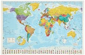 1art1 32100 Poster Cartes Planisphère Politique Drapeaux Ed. 2008 Anglais 91 X 61 cm