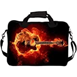 "Snoogg Guitar On Fire 13"" 13.5"" 13.6"" Inch Laptop Notebook SlipCase With Shoulder Strap Handle Sleeve Soft Case With Shoulder Strap Handle Carrying Case With Shoulder Strap Handle For Macbook Pro Acer Asus Dell Hp Sony Toshiba"