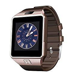 ShopAIS T80 (Brown/Brown) Bluetooth Smart Watch Phone With Camera and Sim Card Support With Apps like Facebook and WhatsApp Touch Screen Multilanguage Android/IOS Mobile Phone Wrist Watch