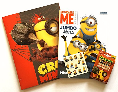 Despicable Me Minions Movie Stocking Stuffer Gift Set - Jumbo Coloring Activity Book - 8 Assorted Crayola Crayon Colors - Pocket Folder - Stickers Sheet