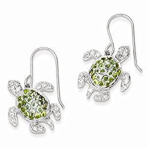 PriceRock Sterling Silver Clear, Green And Blue Cz Turtle Dangle Earrings