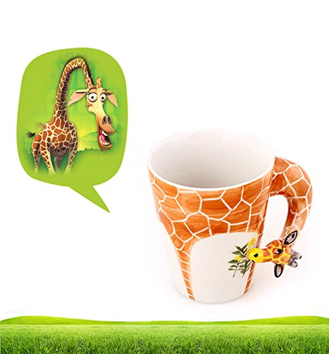 Hand-painted Ceramic Animal Coffee Mug - Lively Grazing Giraffe