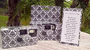 10 Pack DAMASK Wedding Disposable 35mm Cameras In Matching Gift Boxes- 27 Exposures Each- With Matching Table Tents