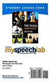 echange, troc  - Myspeechlab Student Access Code: Public Speaking: Strategies for Success
