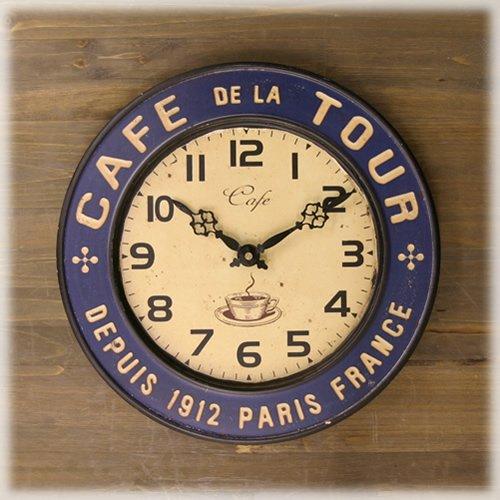 ブリキ カフェクロック 掛け時計 アンティーク風 ブルー