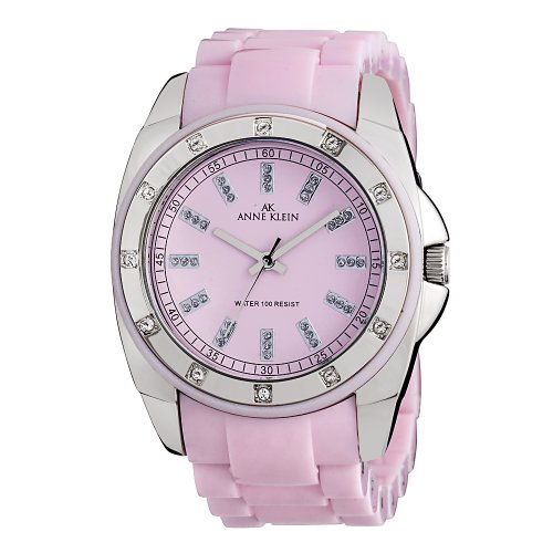 AK Anne Klein Women's 109179PKPK Silver-Tone Swarovski Crystal Accented Pink Plastic Watch