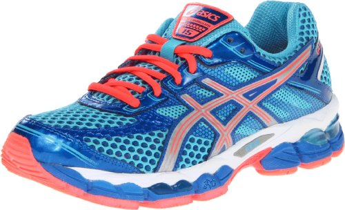 ASICS Women's GEL-Cumulus 15 Running Shoe,Turquoise/Lightning/Electric Melon,12 M US