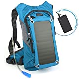 Ivation 7W Solar charging 1.8L Hydration Backpack/Bladder Bag w/Flexible Drinking Pipe, 10,000 mAh Waterproof Power bank - Removable Solar Panel Recharges the Backup Battery, For Hiking, Camping,