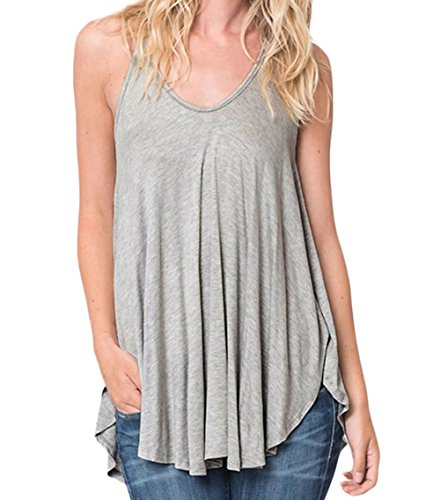 FQHOME Womens Gray Racerback Flowy Cami Tank Top Size XL (Thong Sandal With Web Detail compare prices)