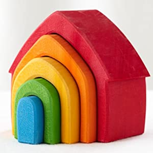 Grimm's Rainbow Colored House 5-Piece Stacker - Wooden Nesting Puzzle/Building Blocks