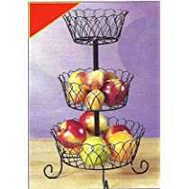 METAL 3-TIER WIRE BASKET PRODUCE RACK