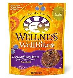 Wellness WellBites Soft Natural Dog Treats, Chicken & Venison, 8-Ounce Bag