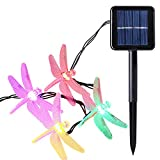 Icicle Outdoor Dragonfly Solar String Lights, 16ft 20 LED 8 Modes Waterproof Fairy Lighting for Christmas Trees, Garden, Patio, Wedding, Party and Holiday Decorations, Multi Color