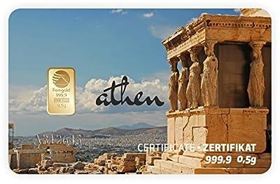 Goldbarren Geschenkkarte 0,5 g 0,5g Gramm Feingold 999.9 Nadir Gold Stadt Athen