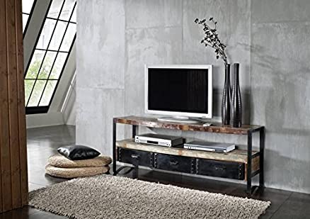 LEGNO MASSELLO LEGNO ANTICO FERRO LACCATO MOBILE TV mobili in legno massello stile industriale MOBILI massiccio INDUSTRIALE #05