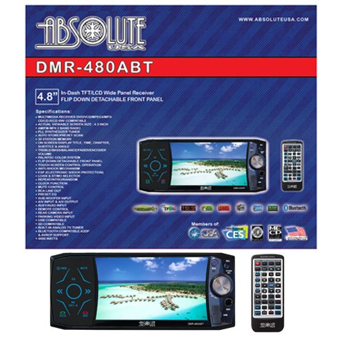 Absolute Dmr-480Abt 4.8-Inch In-Dash Multimedia Dvd Player Touch Screen System With Bluetooth, Analog Tv Tuner And Usb/Sd Slot