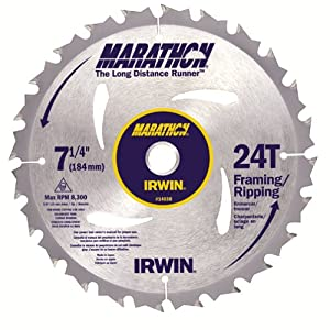 Irwin 24030 Marathon 7-1/4-Inch 24 Tooth ATB Framing and Ripping Saw Blade with 5/8-Inch and Diamond Knockout Arbor