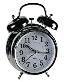 Traditional Chrome Metal Glow In The Dark/Nightlight Twin Bell Alarm Clock