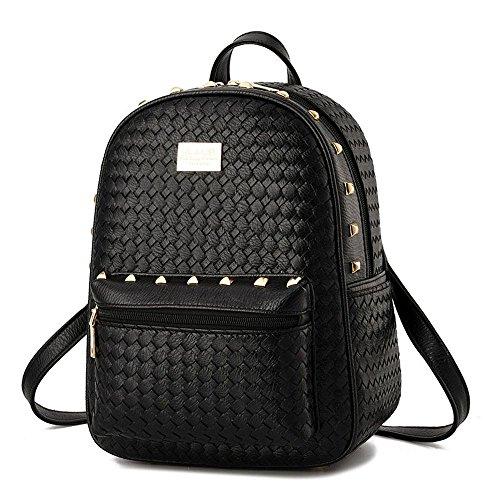 koson-man-girl-womens-rivets-backpack-daily-shoulders-bagblack