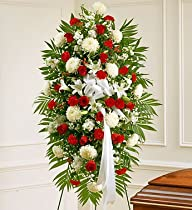 1-800-Flowers – Deepest Sympathies Red & White Standing Spray – Large